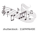 sketch musical sound wave with... | Shutterstock . vector #1169496430