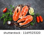 raw salmon fish. fresh salmon... | Shutterstock . vector #1169525320
