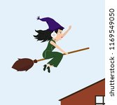 witch on her way to work with... | Shutterstock .eps vector #1169549050