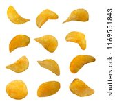 set of potato chips isolated on ...   Shutterstock . vector #1169551843