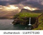 aerial  bright golden sun rays...   Shutterstock . vector #1169575180