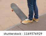 skateboarding on skatepark ramp | Shutterstock . vector #1169576929