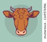 Cow Head Dairy Livestock Icon....