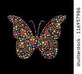 Stock photo vector illustration of butterfly shape made up a lot of multicolored small flowers on the black 116957986