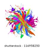 Colored paint splashes sphere isolated on white background - stock photo