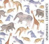 watercolour animals abstract... | Shutterstock . vector #1169585473