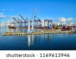 containership piers in... | Shutterstock . vector #1169613946