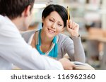 woman communicates with... | Shutterstock . vector #116962360