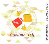 autumn sale paper package...   Shutterstock .eps vector #1169624479