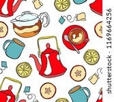 kettle and hot tea. slices of... | Shutterstock .eps vector #1169664256