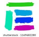set of hand painted blue brush... | Shutterstock .eps vector #1169682280