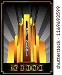 vector art deco building retro... | Shutterstock .eps vector #1169693599
