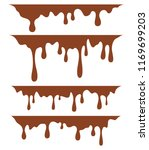 brown dripping paint  on white... | Shutterstock .eps vector #1169699203