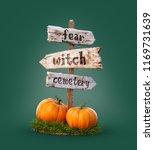 halloween pumpkins under old... | Shutterstock . vector #1169731639
