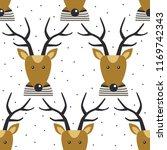 seamless pattern  deers  hand...   Shutterstock .eps vector #1169742343