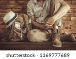 young man with backpack .... | Shutterstock . vector #1169777689