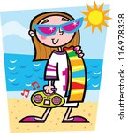 beach girl | Shutterstock .eps vector #116978338