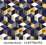 geometric blue and gold cubes... | Shutterstock .eps vector #1169786296
