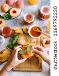 toasts of bread with apricot... | Shutterstock . vector #1169792230