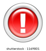 Red Exclamation Button - stock photo