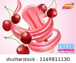 cherries popsicle  ice cream... | Shutterstock .eps vector #1169811130