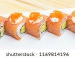 philadelphia roll sushi with... | Shutterstock . vector #1169814196