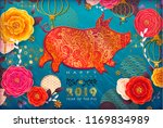 chinese new year 2019. zodiac... | Shutterstock .eps vector #1169834989