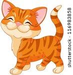 Cute Striped Kitten Walking...