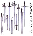 watercolor drawing swords and... | Shutterstock . vector #1169847430