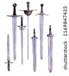 watercolor drawing swords and... | Shutterstock . vector #1169847433