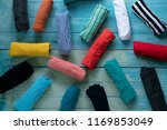 close up of rolled colorful... | Shutterstock . vector #1169853049