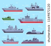 Flat military boats. Navy battle ships, sea combat security boat and battleship weapon, frigate army ship at sea and submarine. Naval warship vector isolated icons collection
