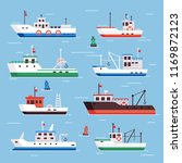 flat fishing boats. commercial... | Shutterstock .eps vector #1169872123