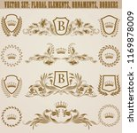 set of golden monograms with... | Shutterstock .eps vector #1169878009
