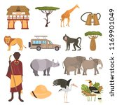 african safari color flat icons ... | Shutterstock .eps vector #1169901049
