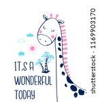 hand drawing giraffe... | Shutterstock .eps vector #1169903170