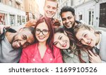 happy friends from diverse... | Shutterstock . vector #1169910526