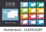 year 2019 colorful calendar ... | Shutterstock .eps vector #1169916289