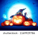 halloween celebration fun party.... | Shutterstock .eps vector #1169929786