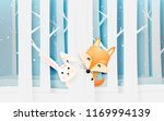 cute fox and rabbit in the wood ... | Shutterstock .eps vector #1169994139