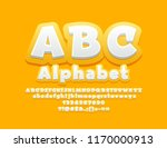Vector Yellow Children Alphabet Letters and Symbols. Cute 3D Font for Kids