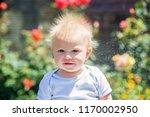 cute little boy with static... | Shutterstock . vector #1170002950