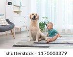 adorable yellow labrador... | Shutterstock . vector #1170003379