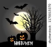 cartoon halloween pumpkins... | Shutterstock .eps vector #1170015370