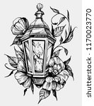 lantern with flowers. tattoo... | Shutterstock .eps vector #1170023770