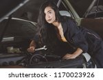 girl in  garage | Shutterstock . vector #1170023926