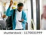 man using phone  listening... | Shutterstock . vector #1170031999