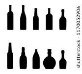 silhouettes bottles of wine  ... | Shutterstock .eps vector #1170052906