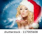 Santa Girl On Snow Blue...