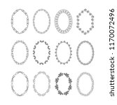 hand drawn set of oval frames.... | Shutterstock .eps vector #1170072496